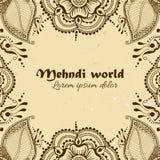 在印地安装饰样式的传染媒介背景 Mehndi花饰 库存照片
