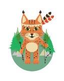 在印地安身分的角色的小天猫座和藏品在爪子一支弓箭在森林和帐篷的背景 免版税库存照片