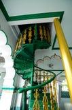 在印度回教清真寺的螺旋形楼梯细节在怡保,马来西亚 库存图片