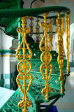 在印度回教清真寺的螺旋形楼梯细节在怡保,马来西亚 免版税库存图片