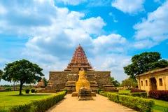 在印度寺庙的入口致力了希瓦,古老Gangaikonda 库存照片