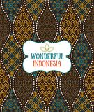 在印度尼西亚葡萄酒蜡染布豪华样式的无缝的样式 库存例证
