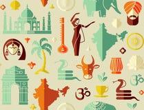 在印度的题材的无缝的背景 免版税库存照片