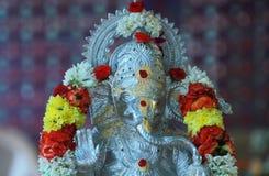 在印度神ganesha仪式大象的特写镜头银色颜色雕象 免版税库存图片