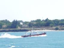 在印度洋蒙巴萨的速度小船 库存照片
