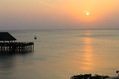 在印度洋,桑给巴尔,坦桑尼亚,非洲的日落 免版税库存照片