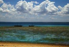 在印度洋,莫桑比克岛的热带海滩 免版税库存照片