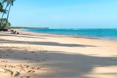 在印象深刻的天堂海滩的美好的天在Marau 库存照片