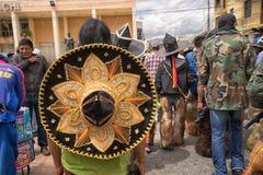 在印锑秘鲁货币单位被穿的阔边帽Raymi期间 库存照片