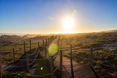 在厄加勒斯角-西开普省,南非的晚上 免版税库存图片