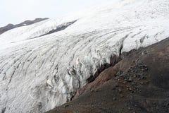 在厄尔布鲁士山的冰川 库存图片