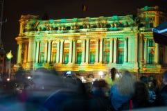 在历史大厦的光展示 免版税库存照片