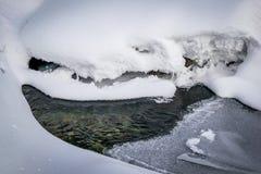 在厚实的雪和冰下的河 库存照片