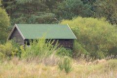 在原野中间的小木小屋 免版税库存照片