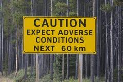 在原野国家旅行的小心标志在Spray湖路  库存照片