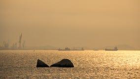 在厦门口岸,东南中国的日落 免版税库存图片