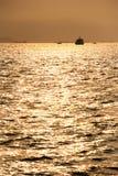 在厦门口岸,东南中国的日落 免版税库存照片