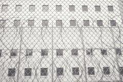 在厨师县监狱的铁丝网 免版税库存图片