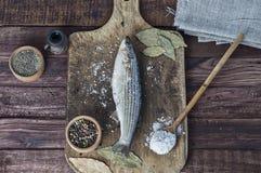 在厨房板的新鲜的熔炼鱼 免版税库存图片