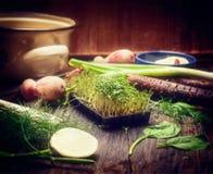 在厨房用桌上的新鲜的新芽与烹调工具 图库摄影
