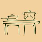 在厨房的剪影平底锅 库存图片