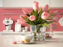 在厨房背景的新鲜的黄色郁金香 3d 库存照片