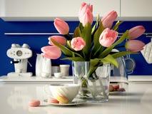 在厨房背景的新鲜的黄色郁金香 3d 图库摄影