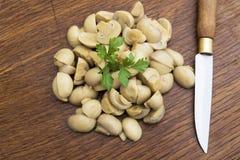 在厨房里堆积的蘑菇 免版税库存照片