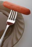 在叉子的上面的香肠 库存图片