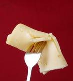 在叉子的乳酪 图库摄影