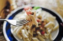 在叉子的意大利面食 库存照片