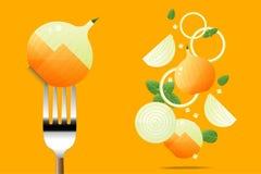 在叉子的新鲜的葱有飞行葱背景,健康食物概念 免版税图库摄影