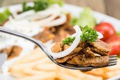 在叉子的新鲜的Kebab肉 免版税图库摄影