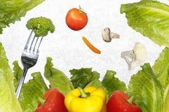 在叉子的沙拉菜 库存图片