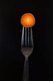在叉子的红萝卜 免版税库存照片