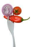在叉子的葱辣椒和蕃茄 免版税图库摄影