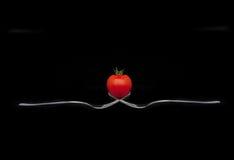 在叉子的蕃茄 免版税库存图片