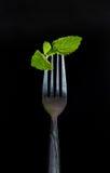 在叉子的薄菏 免版税图库摄影
