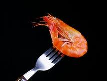 在叉子的虾 免版税库存照片
