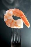 在叉子的虾 库存照片