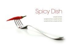 在叉子的辣椒 库存照片