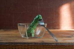 在叉子,饮食的概念的图象的测量的磁带 免版税图库摄影