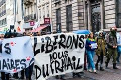 在反对Macrow la的一法国全国性天期间政治行军 免版税库存照片