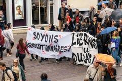 在反对Macrow la的一法国全国性天期间政治行军 库存照片