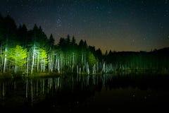 在反射在欺骗的夜空的星在晚上筑成池塘,  免版税图库摄影