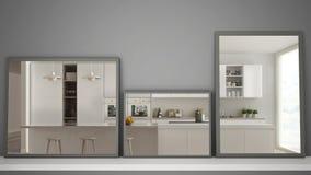 在反射室内设计场面,当代现代厨房,最低纲领派白色建筑学的架子或书桌的三个现代镜子 库存图片