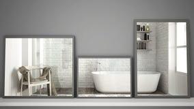 在反射室内设计场面,斯堪的纳维亚经典卫生间,最低纲领派白色architectu的架子或书桌的三个现代镜子 库存图片