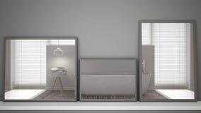 在反射室内设计场面,最低纲领派现代北欧卫生间,最低纲领派白色archit的架子或书桌的三个现代镜子 库存例证