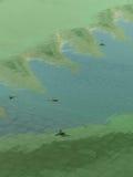 在反射性水surface1的死的蜻蜓游泳 免版税库存图片