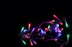 在反射性黑背景的圣诞灯 假日发光的诗歌选边界 XMAS光 免版税库存图片